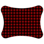 Lumberjack Plaid Fabric Pattern Red Black Jigsaw Puzzle Photo Stand (Bow) Front