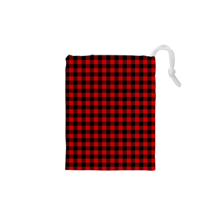 Lumberjack Plaid Fabric Pattern Red Black Drawstring Pouches (XS)