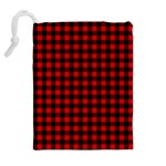 Lumberjack Plaid Fabric Pattern Red Black Drawstring Pouches (Extra Large) Back