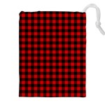 Lumberjack Plaid Fabric Pattern Red Black Drawstring Pouches (XXL) Front