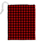 Lumberjack Plaid Fabric Pattern Red Black Drawstring Pouches (XXL) Back