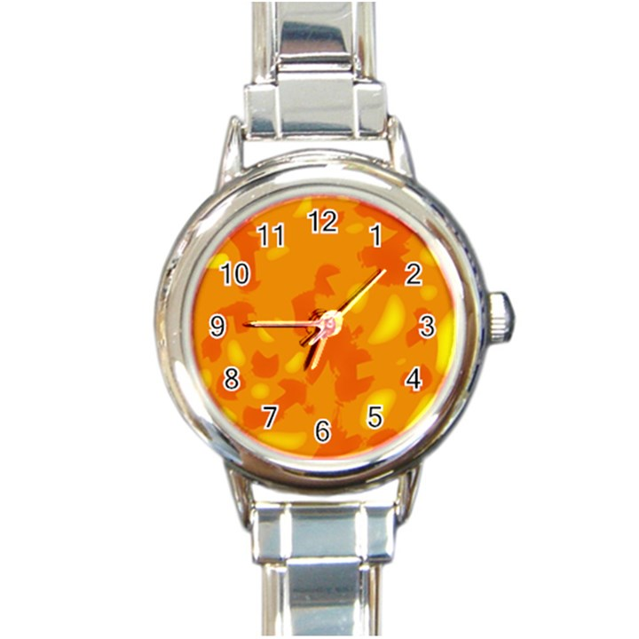 Orange decor Round Italian Charm Watch