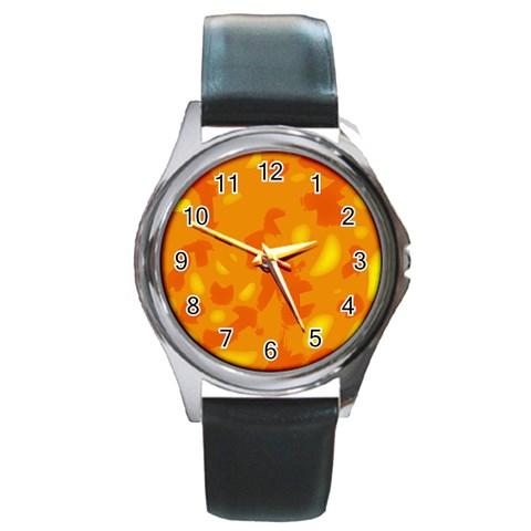 Orange decor Round Metal Watch