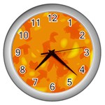 Orange decor Wall Clocks (Silver)  Front