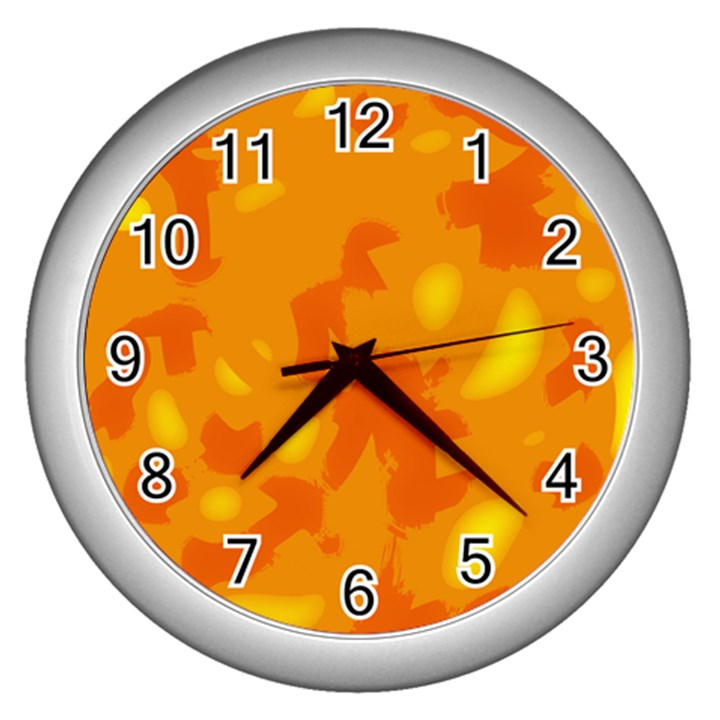 Orange decor Wall Clocks (Silver)