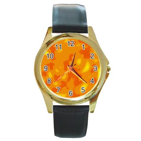 Orange decor Round Gold Metal Watch