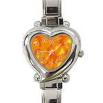 Orange decor Heart Italian Charm Watch Front