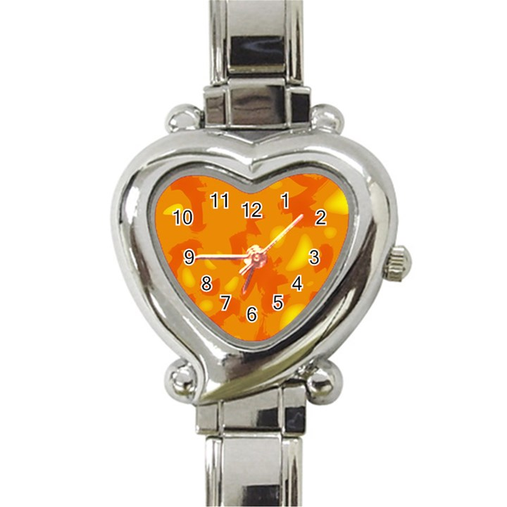 Orange decor Heart Italian Charm Watch