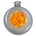 Orange decor Round Hip Flask (5 oz) Front