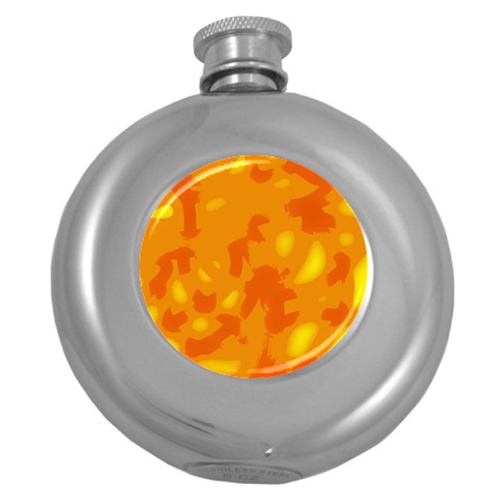 Orange decor Round Hip Flask (5 oz)