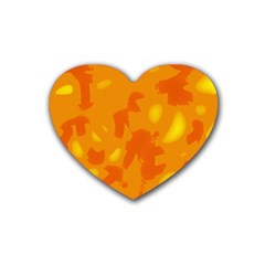 Orange Decor Rubber Coaster (heart)