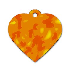 Orange Decor Dog Tag Heart (one Side)