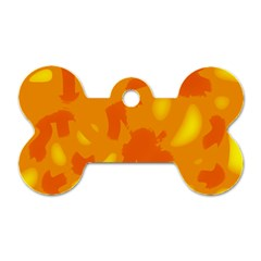 Orange decor Dog Tag Bone (One Side)