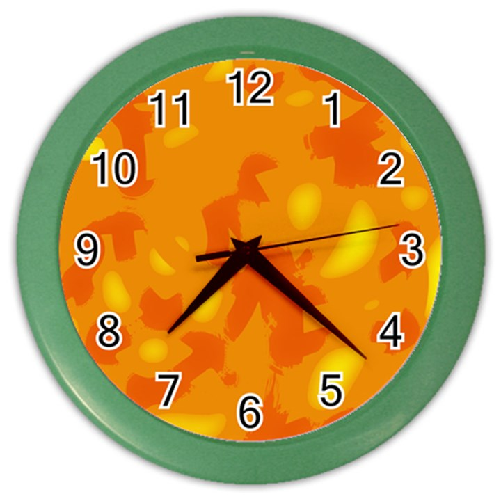 Orange decor Color Wall Clocks