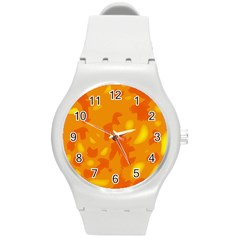 Orange decor Round Plastic Sport Watch (M)