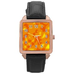 Orange Decor Rose Gold Leather Watch