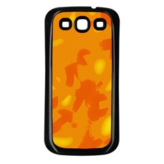 Orange decor Samsung Galaxy S3 Back Case (Black)