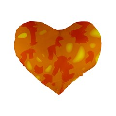 Orange decor Standard 16  Premium Flano Heart Shape Cushions