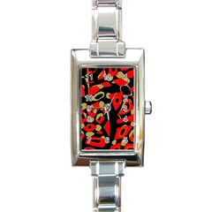 Red artistic design Rectangle Italian Charm Watch