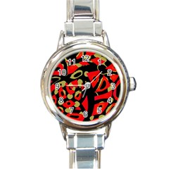 Red Artistic Design Round Italian Charm Watch