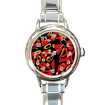 Red artistic design Round Italian Charm Watch Front