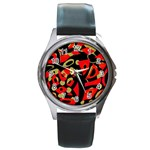 Red artistic design Round Metal Watch Front