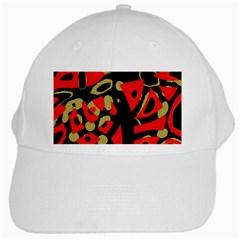 Red Artistic Design White Cap