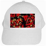 Red artistic design White Cap Front