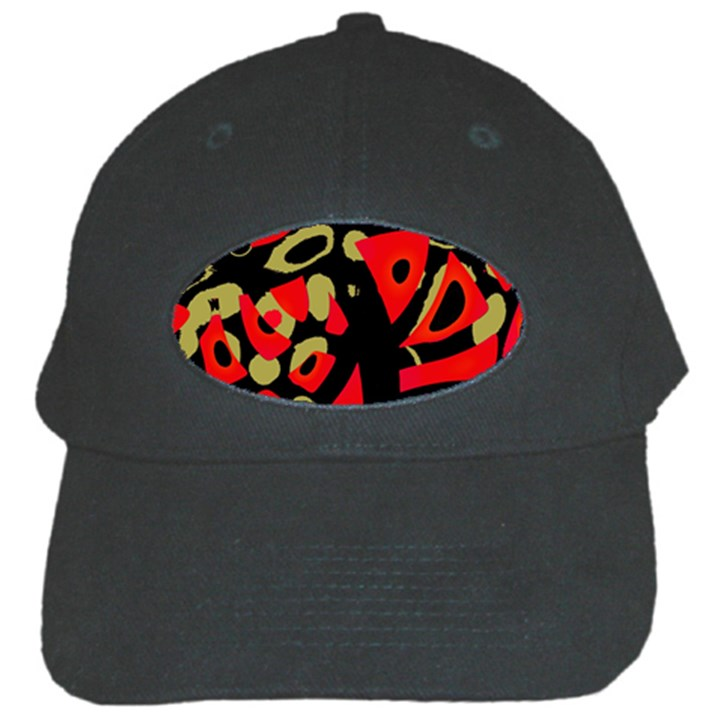 Red artistic design Black Cap