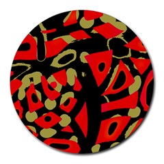Red Artistic Design Round Mousepads