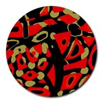 Red artistic design Round Mousepads Front