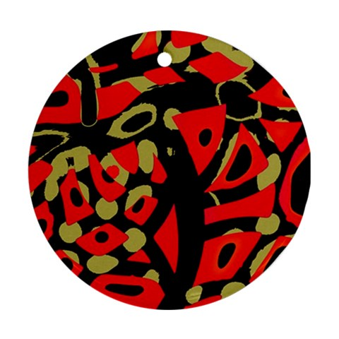 Red artistic design Ornament (Round)