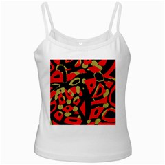 Red artistic design White Spaghetti Tank