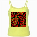 Red artistic design Yellow Spaghetti Tank Front