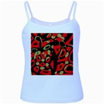Red artistic design Baby Blue Spaghetti Tank Front