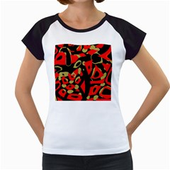 Red Artistic Design Women s Cap Sleeve T