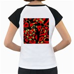 Red artistic design Women s Cap Sleeve T Back