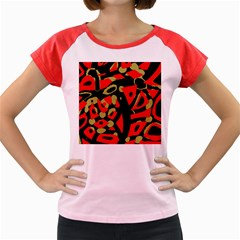 Red artistic design Women s Cap Sleeve T-Shirt