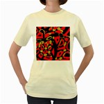 Red artistic design Women s Yellow T-Shirt Front