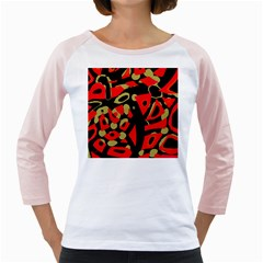 Red artistic design Girly Raglans