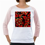Red artistic design Girly Raglans Front