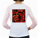 Red artistic design Girly Raglans Back