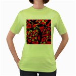 Red artistic design Women s Green T-Shirt Front