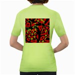 Red artistic design Women s Green T-Shirt Back