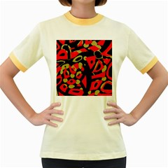 Red Artistic Design Women s Fitted Ringer T Shirts