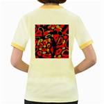 Red artistic design Women s Fitted Ringer T-Shirts Back