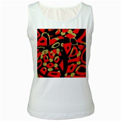 Red artistic design Women s White Tank Top