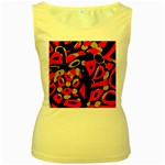 Red artistic design Women s Yellow Tank Top Front