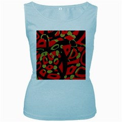 Red Artistic Design Women s Baby Blue Tank Top
