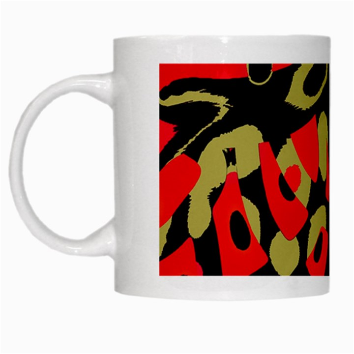 Red artistic design White Mugs